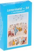 """Астро-мифологическая большая колода Марии Ленорман с инструкцией, """"Lenormand-54"""" (54 карты, голубая)"""